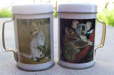 Vintage Australia Souvenir Kangaroo & Koala Metal Can  Salt & Pepper Shakers
