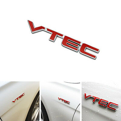 Red Metal VTEC Logo Car Letter Sticker Auto Fender Decal Chrome Emblem For Honda
