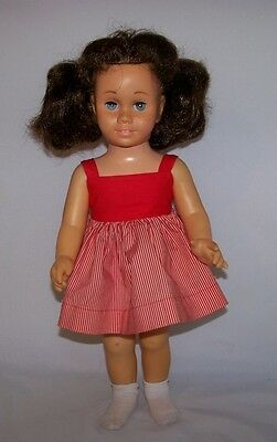 """Vintage Mattel Chatty Cathy Hard Face Brunette Pigtails Red Peppermint Dress 20"""""""