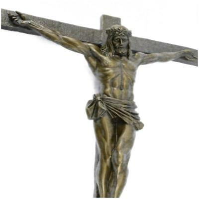 Extra Large Jesus Crucifixion 100% Real Pure Bronze Sculpture Wallmount  A