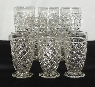 "8 Hocking WATERFORD/WAFFLE CRYSTAL *5 1/4"" 10oz WATER TUMBLERS*"