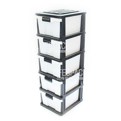NEW Compact 5 Drawer Plastic Organiser Unit Free Standing Storage B&W