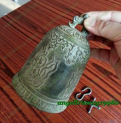 Famous Tibet Vintage Copper Hand Buddhist Dragon Singing lucky bell