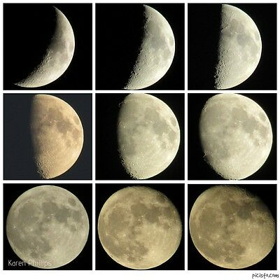 """Sequence of 9 Phases Of The Moon Photograph 8.5"""" x 8.5"""" Print (Lunar Cycle)"""