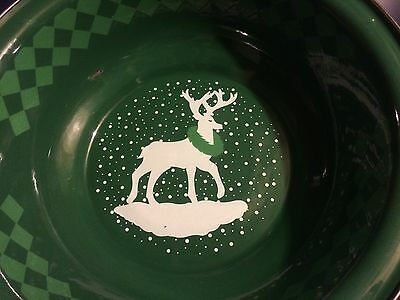 """The Golden Rabbit"" Christmas Enamelware Serving Bowl - 12"" round X 4"" deep"