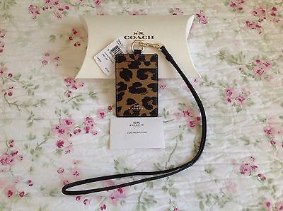 Authentic Coach Lanyard ID Holder Case In Leopard Print Coated Canvas F66473