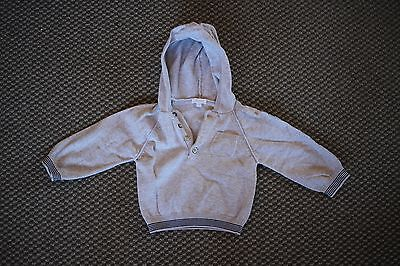 Jacadi Paris: Boys Grey Jumper Hoodie, Size 1.5/ 18 months