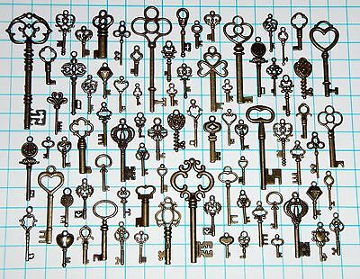 80 Antique Vtg old look Bronze Skeleton Key Lot Ornate Fancy Steampunk Heart Bow