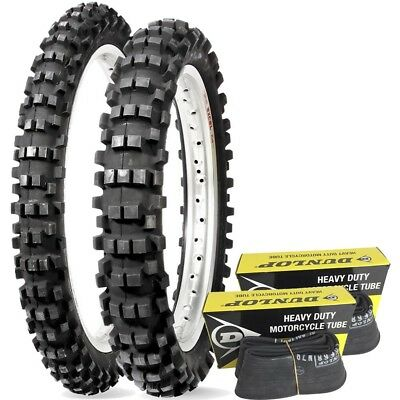 NEW Dunlop D952 Mx Rear 110/90-19 Front 80/100-21 Enduro Tyre Set + FREE Tubes