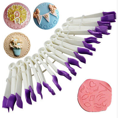 10x Plastic Curve Crimpers Style Lace Edge Sides Clip Pastry Cake Decoration New