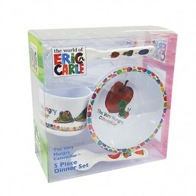 The Very Hungry Caterpillar Melamine Dinner Set 5pc - Plate, Bowl, Cutlery, Cup
