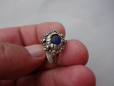 ancient late Roman - Middle Ages silver ring, with blue glass intaglio