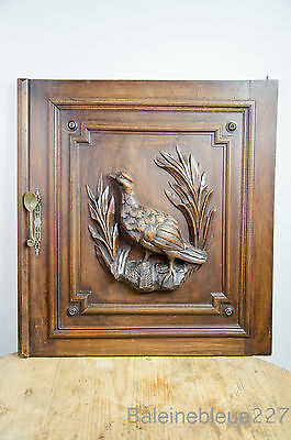 French Provence Antique Carved Bird Door Panel Solid Walnut Wood  / 2 available