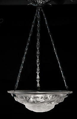 French Art Deco Chandelier Signed Degue Modernist White Frosted Glass