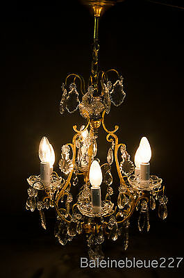 French Antique Gilt Bronze & Crystal bird cage chandelier 6 arms light Louis XV