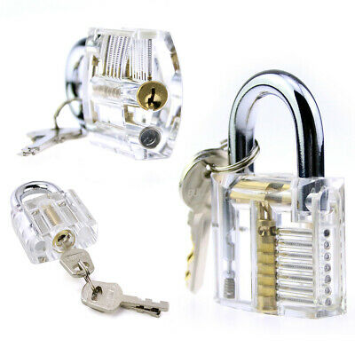 Transparent Practice Padlock Clear See-through Lock Training Tools For Locksmith