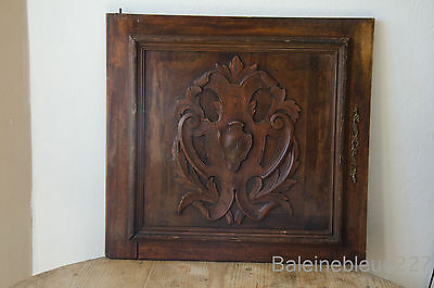 French Antique Carved Blason Armorials Architectural Panel Door Wood Salvaged