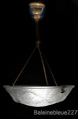 French Art Deco Chandelier Modernist Design White Frosted Glass