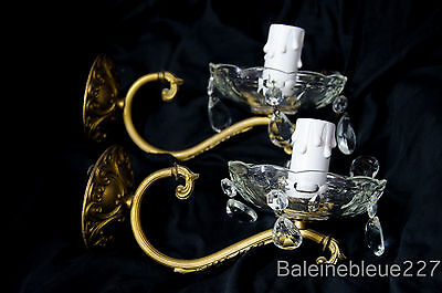 Set of Two Antique French Gilt Bronze & Cut Crystal Prism Wall Sconce