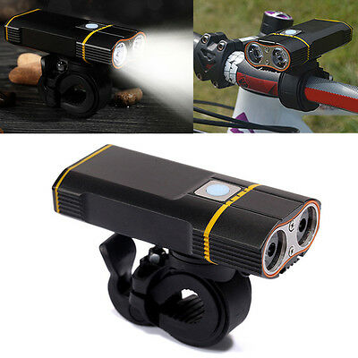 5Mode USB Rechargeable LED Cycling Bicycle Front Light Bike Head Lamp Tube Mount