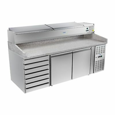 Refrigerated Saladette Food Display Pizza Prep Counter 7 Cooling Drawers 2 Doors