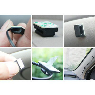 40P Home Office Car Cord Clip Cable Organizer Wire Cleats Back 3M Adhesive Black