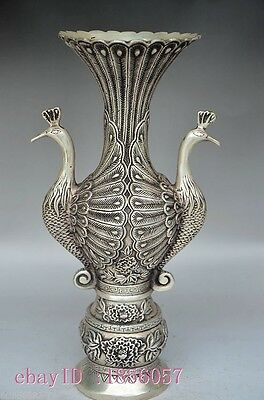 Superb Chinese Silver Copper Handwork Carved Peacock Vases