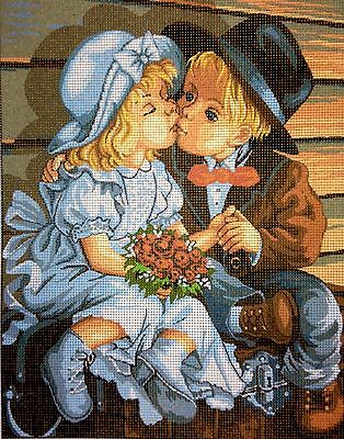 """Needlepoint Kit Gobelin Tapestry """" The Kiss"""" hand embroidery printed canvas 422"""