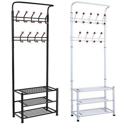 Metal Multi-purpose Heavy Duty 18 Hanger Hook Clothes Shoes Hats Bags Stand Rack