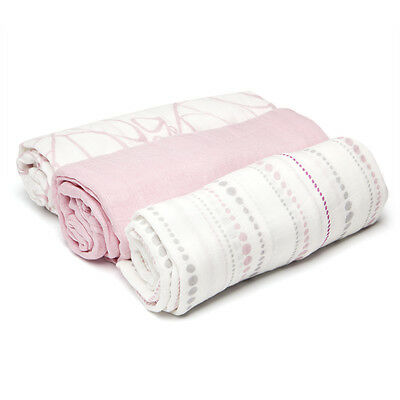 NEW Aden and Anais Bamboo Swaddle Set Tranquility 3pce