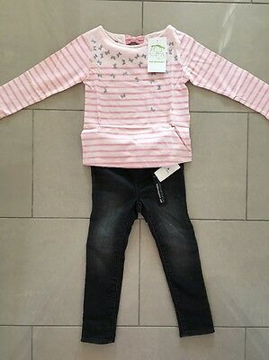 BNWT Vertbaudet Girls Pink Butterfly Breton Top, Gap Jeggings Outfit 3-4 Years