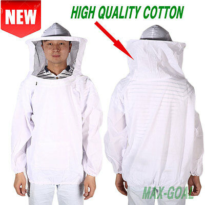 New Professional Cotton Beekeeping Bee Keeping Suit w/ Veil Hood MG