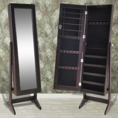 Brown Free Standing Floor Mirror Jewelry Cabinet Cheval Full Length  Adjustable