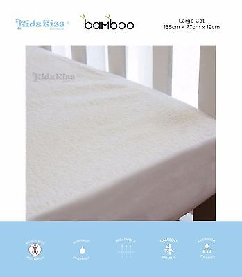 KIDZ KISS Bamboo Waterproof Fitted Mattress Protector / Cotton [Large Cot]