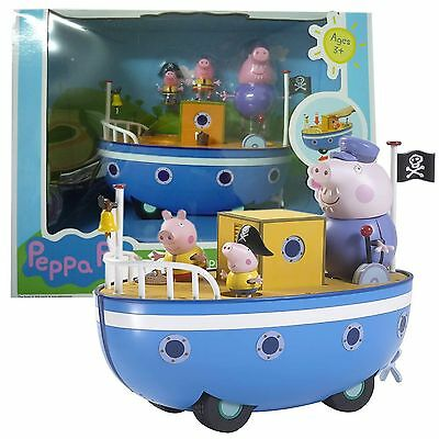 Peppa Pig Grandpa Pigs Boat Playset Toy With 3 Figures Kid Children Gift