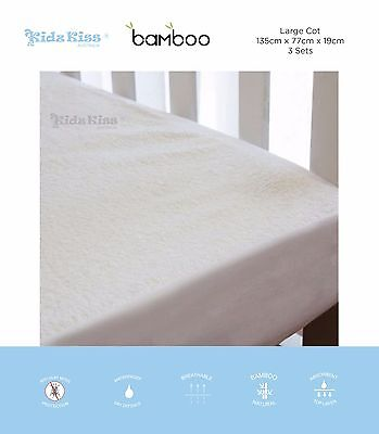 [3 Sets] Kidz Kiss Bamboo Waterproof Fitted Mattress Protector [Large Cot]