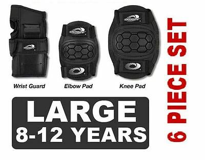 NEW 6 Piece Childs Boys Girls Skate Cycle Knee Elbow Wrist Pads - LARGE - BLACK