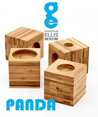 "Panda 4"" Cube Bamboo Chair / Bed Raisers Multi Fitment - Wooden Risers"