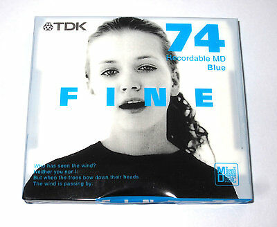 "One (1) Minidisc TDK FINE ""Girl Pink"" MD-74 '2001 (new and sealed)"