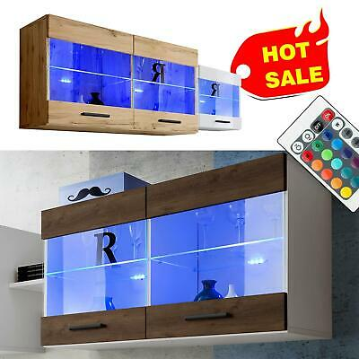 Wall Display Cabinet Unit Mounted Glass Shelves Cupboard Storage Living Room LED