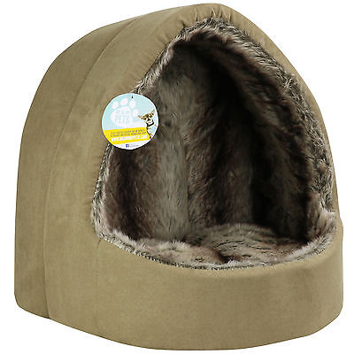 Me & My Large Brown Faux Fur Igloo Cat Bed Pet/kitten/dog/puppy Warm/snug Cave