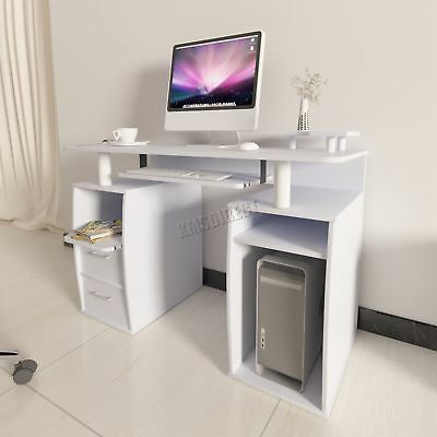 FoxHunter  Computer Desk PC Table With Shelves Drawers Home Office CD05 White