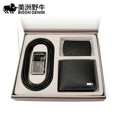 Mens Gift Set Includes Leather Automatic Belt,Wallet And Card Holder Gift Set