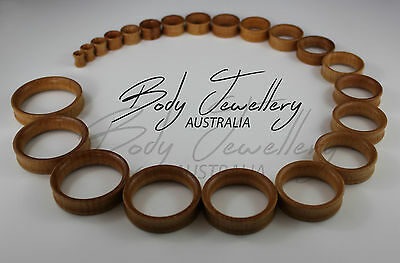 Aussie Seller Natural Wood Double Flare Flesh Tunnels Low Odour Plugs Stretchers