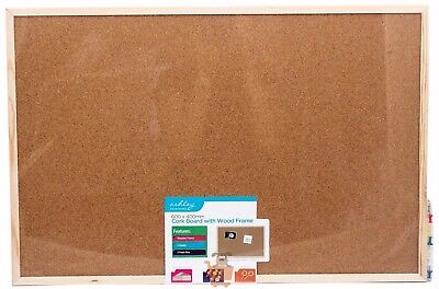 Wooden Framed Cork Pin Message Notice Board Photo Picture Memo 600 x 400mm