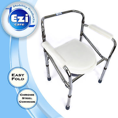Commode Chrome Steel foldable portable camping toilet chair Ezi Care