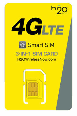 H2O TRIPLE CUT Sim Card Including $30 1st Month Free Prefunded Preloaded