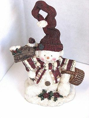 Snowman with Crooked Hat Merry Christmas sign & Basket Resin Figurine