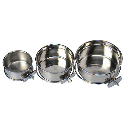 Stainless Steel Cage Coop Clamp Bolt Cup Dog Puppy Food Water Bowl Pet Feeders