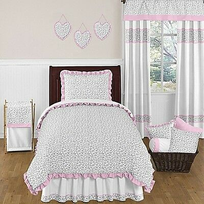 Sweet JoJo Kenya Comforter Set Twin Bedding Girls Gray Pink  $119